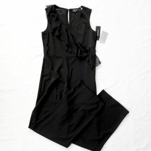 NWT Bebe Ruffle Accent Black Jumpsuit, size 8
